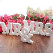 Vnfire MR & MRS Wooden Letters Wedding Decoration / Present White Size Large