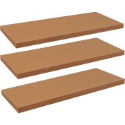 Harbour Housewares Pack of 3 Floating Wooden Wall Shelves 120cm - Natural Beech