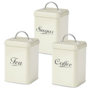 Andrew James 3 Piece Vintage Style Tea, Coffee and Sugar Canister Set in Retro Cream with 2 Year Warranty