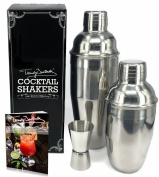 Premium Cocktail Shaker Set by Trendy Bartender - Set of Two Stainless Steel Shakers 24 & 350ml With Built In Strainer - Double Jigger Included - Cocktail Recipe e-Book - Lifetime Guarantee!