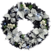 WeRChristmas 60 cm Decorated Pre-Lit Wreath Christmas Decoration Illuminated with 20 Cool White LED Lights, Black/ Silver