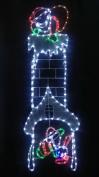 Santa Climbing Chimney Rope Light Christmas Decoration With Multi LED Lights - 120cm x 40cm