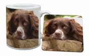 Springer Spaniel Dog Mug and Table Coaster, Ref:AD-SS1MC
