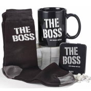 THE BOSS MUG MINTS SOCKS GIFT SET COFFEE NOVELTY TIN BOX XMAS MINT OFFICE TEA