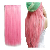 Awbin 60cm Pastel Pink Colour Dip-dye Straight Full Head Clip in Hair Extension