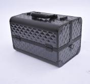 Soozier Deluxe 36cm Cosmetics Makeup / Jewellery Travel Train Case - Black