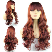 Women Long Natural Wave Synthetic Hair Wig Full Cap Cosplay Party Wigs with Bangs Burgundly 60cm