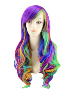 TopWigy Women's Long Anime Costume Curly Rainbow Hair Cosplay Party Wig +Wig Cap