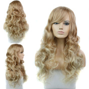 Sexy Stylish Long Natural Wave Synthetic Hair Cosplay Wig Women Full Party Wigs with Bangs Blonde