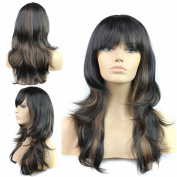Sexy Women Long Natural Wave Hair Cosplay Costume Party Wig Synthetic Full Wigs with Bangs