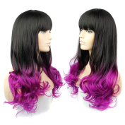 Sexy Gradient Women Long Curly Wave Hair Cosplay Costume Party Wig Synthetic Full Wigs with Bangs