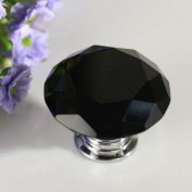 CSKB 12 PCS 30mm Black Crystal Knob Diamond Cut Door Pull Drawer Handle Cabinet Furniture 8 Colours Available