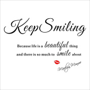 Fange DIY Keep Smiling Because Life Is a Beautiful Thing and There Is so Much to Smile About Marilyn Monroe Removable Quote Wall Stickers Decor Decal Sticker 70cm x 50cm