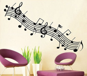 Fange Black Music Musical Notes Treble Stave Removable Wall Sticker Decal 120cm x 80cm