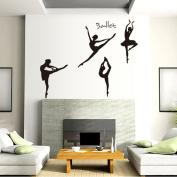 Fange Black Modern Ballerina Dancers Wall Decal Sticker Decorations 130cm x 100cm