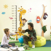 Fange DIY Removeable Cartoon Yellow Giraffe Measurement Height Chart with Banana Monkey and Flowers Sticker Nursery Children Favourite for Bedroom Home Decoration 150cm x 100cm