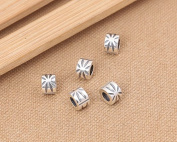 Luoyi 2pcs 6mm*9mm Thai Sterling Silver Large Hole Charm Beads European Beads Column Beads Olive Leaf Pattern Beads Spacer Beads