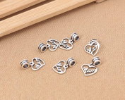 Luoyi 1pc 14mm*16mm Thai Sterling Silver Large Hole Charm Bead European Bead Column Bead Heart Dangle Bead Spacer Bead