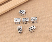 Luoyi 2pcs 12mm*8mm Thai Sterling Silver Large Hole Charm Beads European Beads Cuboid Hollow Beads Letter & Heart Beads Spacer Beads