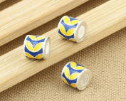Luoyi 1pc 10*10mm Sterling Silver Large Hole Charm Bead European Bead Colour Beads Orchid Pattern Beads Column Beads Enamel Beads Spacer Bead