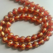 Bolin - 8mm Om Mani Padme Hum Natural Red Agate Beads Tibetan Gold Plating Delicately Carved Mantra 15 inch Strand Onyx Beads for Jewellery Making