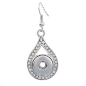 ZARABE Dangle Earrings fit Snap Mini Button Waterdrop Rhinestone 4.7x1.85cm