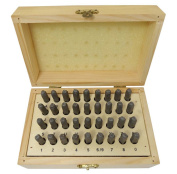 "BENCH WIZARD Number & Capital Letter Punch Set In Wooden Case 36 Pc (4mm 5/32"")"