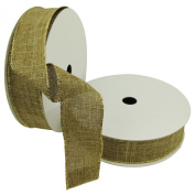 Wired Faux Linen Ribbon-3.8cm x 10yds-Trimmed w/gold accents- All the Makings