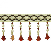 Upholstery Ribbon Tassel Curtain Fringe 8.1 Cm Wide Beige Trim Crafting By The Yard