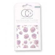 Craft Consortium Decoupage Printed Paper Pack of 3 - CP206 Lilac Roses