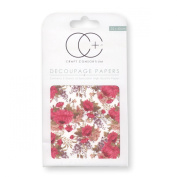 Craft Consortium Decoupage Printed Paper Pack of 3 - CP141 Red Peony