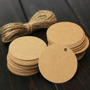 Teensery 100 Pcs Round Shape Blank Cards Kraft Paper Tags Label Price Tag Wedding Party Name Card Gift Tags Kraft Hanging Tag With String