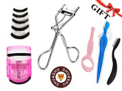 Professional Eyelash Curler Silver By Shushu Stainless Steel High Quality With FREE Huge Bonus Gift Set ,Include Free 5pcs Silicone Refill Pads , 4pcs of Eyebrow Card, Plastic Curler And more...