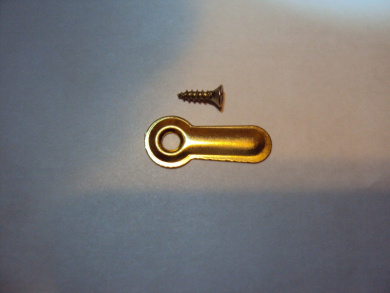 100 Brass Plated Ridged Picture Frame 2.5cm Turn Buttons with Brass Plated Screws by AMS. Picture framing supplies.