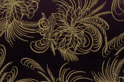 Hoffman 'Berries and Blooms' Elegant Golden Poinsettias and Swirls on Black Christmas Cotton Fabric 110cm - 110cm Wide