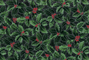 Hoffman 'Berries and Blooms' Holly on Black Christmas Cotton Fabric 110cm - 110cm Wide