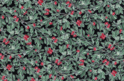 Hoffman 'Evergreen' Berries and Holly on Black Cotton Fabric 110cm - 110cm Wide