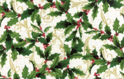 Hoffman 'Festive Flora' by Punch Studio Holly and Swirls on White Christmas Cotton Fabric 110cm - 110cm Wide