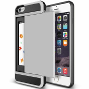 iPhone 6/6s Impact Hybird Wallet Card Slot Case-Superstart Grey Shockproof Resistant Hard PC + Soft TPU Rubber Bumper Cover for iPhone 6/6s 12cm