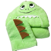 Little Ashkim Dino Hooded Turkish Towel and Mitten Set:Baby, Green, 0-24 Months