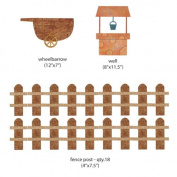 My Wonderful Walls Wall Stickers for Kid's Farm Mural, Wheelbarrow-Well-Fence, Brown/Orange