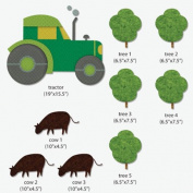 My Wonderful Walls Tractor-Trees-Cows Wall Stickers for Kid's Farm Mural, Multicoloured