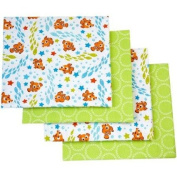 Disney Nemo Day At Sea Flannel Soft Nursery Bed Cotton Blanket Made with Soft Fabric, Green, 4-pack