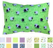 "100% Cotton TODDLER PILLOWCASE in ""Meadow Sheep"" - Hypoallergenic - 200 Thread Count - Percale - Envelope Style - Super Soft - Fits all 12x16, 13x18, 13x19 Pillows - MADE IN THE USA"