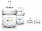 Philips Avent 2 Count Natural Polypropylene Bottles with Replacement Fast Flow Nipples, 120ml