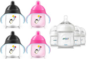 Philips Avent Natural Polypropylene Bottles with Sippy Cups (Includes BONUS Baby Haven Steam Steriliser Bag), Pink