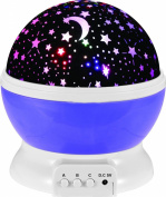 Night Lighting Lamp [ 2 Gneration, 4 LED Beads, 3 Model Light ] Romantic Rotating Cosmos Star Sky Moon Projector , Rotation Night Projection Lamp Kids Bedroom Bed Lamp for Christmas Children