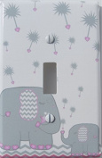 Pink and Grey Dandelion Elephant Light Switch Plates Covers / Elephant Nursery Decor