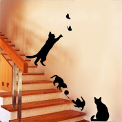 Winhappyhome Cute Naughty Play Black Cats Removable Wall Stickers for Bedroom Living Room Stairs Walkway Backdrop Decor