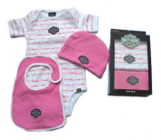 Harley Davidson Baby Girls Clothes, 3 pc Boxed Gift Set, Creeper, Cap, Bib, 3-6 Mos.